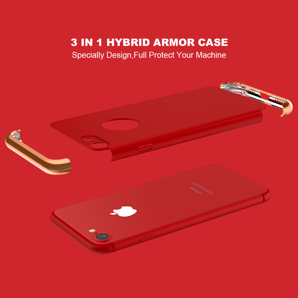 KISSCASE For iPhone 7 Case iPhone 7 Plus Case Unique Design 3 in 1 Combo Luxury Plating PC Phone Cases For iPhone 6 6s 7 Plus