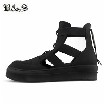 Black& Street 2019 Summer Men's Genuine Leather hollow patchwork luxury new designer platform sandals new gladiator shoes
