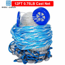 Easy Catch 12 Feet Radius 0.75LB Fishing Cast Net American Heavy Duty Real Lead Weights Hand Throwing Trap Net With Bucket
