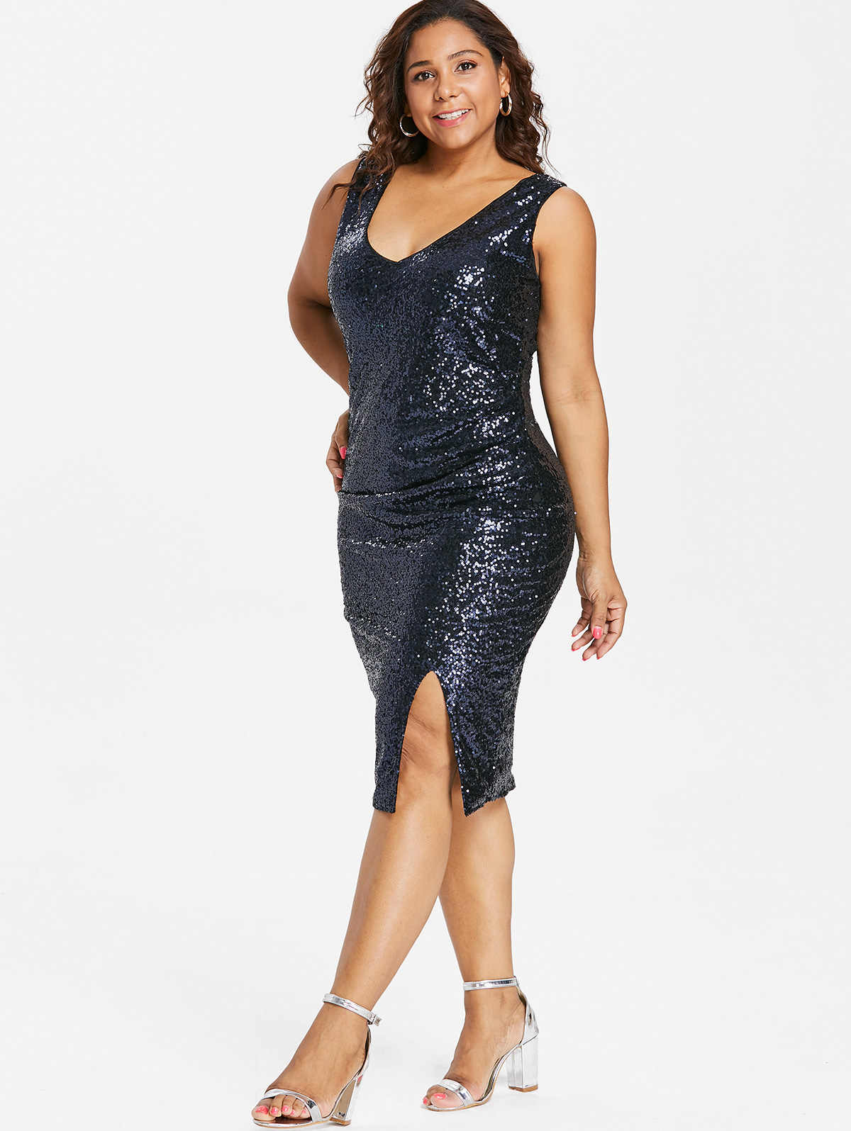 Wipalo Plus Size Sexy V Neck Female Sequined Sheath Dress Women Sleeveless  Side Slit Sparkly Party 37122471b35d