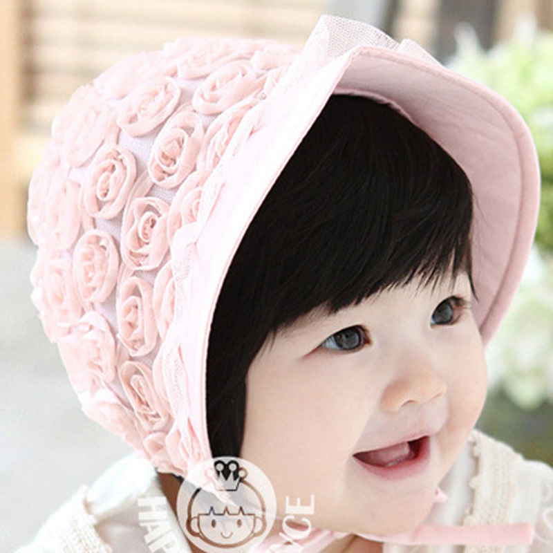 Stylish Rose Big Bowknot Knitted Cap Headwear Fetus Cap for Baby Kids Children Pink
