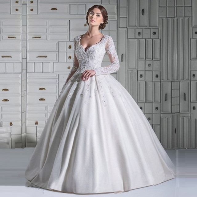 Summer Style Casamento Long Sleeve Lace Princess Ball Gown Wedding ...