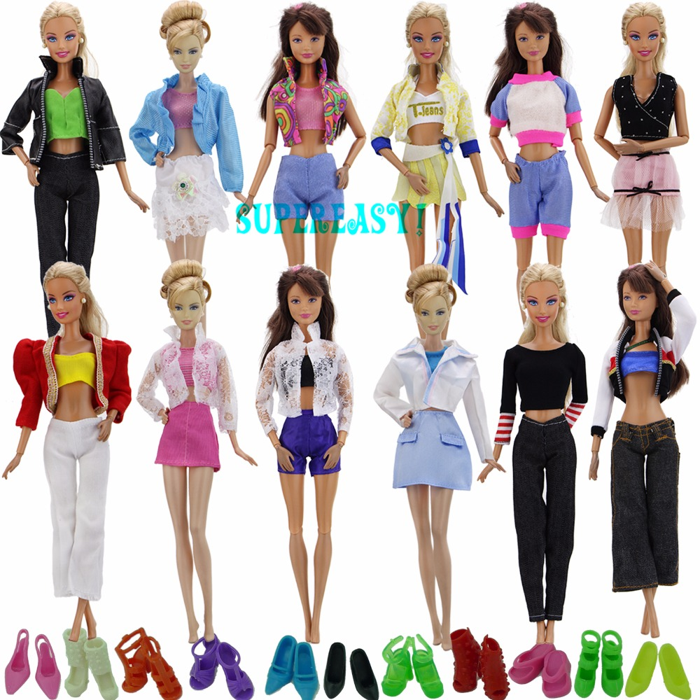 Random 15 Pcs = 5 Sets Fashion Outfit Trousers Dress Shorts Pants Skirt + 10x Shoes Clothes For Barbie Doll Accessories Toy Gift doll rompers clothes trousers pants top clothes accessories for barbie dolls bbi00779