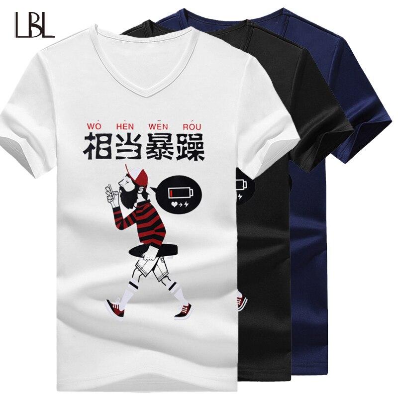 Casual Mens V-neck T Shirts Fashion T-shirt Men Streetwear Short Sleeve Summer Tops male Bodybuilding Tshirt Mans New Top 4XL