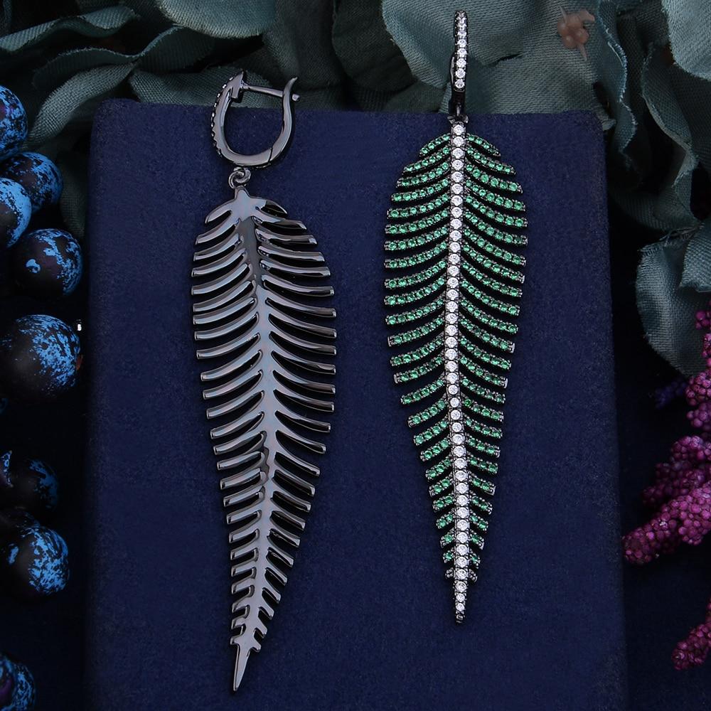 Image 4 - Godki 99mm luxo na moda folha de penas colorido zircônia cúbica  naija festa de casamento brinco moda jóias para mulherBrincos  compridos
