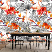 Jasnoszary i flamingo art picture tapety tapetowanie tapety na wystrój ścian w salonie i kuchnia jadalnia