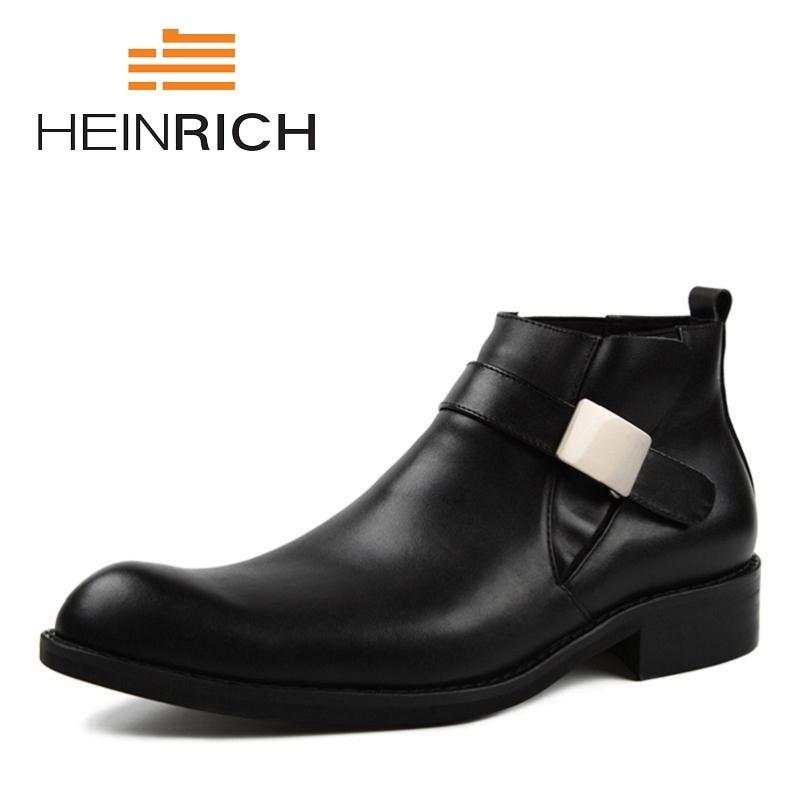 Homens Botas Fivela Marca Black Dedo Dos Couro Genuíno Outono New Cinta Apontado Inverno Chelsea Sapatos Ayakkabi Heinrich De 6pzIqI
