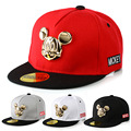 Fashion cotton hip hop Cap Metal Mickey Wild Child Caps Suit 3-10 Year-Old Girl &Boys Flat Hat Snapback Baseball Cap for 50-54cm