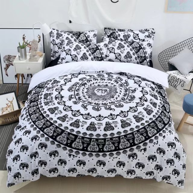 3d elephant print comforter bedding set queen size 3/4pcs traditional duvet cover kids adult home textile bedlinen white gift