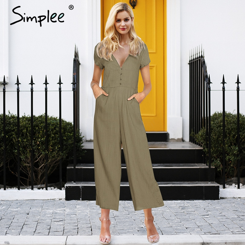 Simplee Sexy v neck front button jumpsuit romper women Casual high waist overalls Cotton wide leg summer jumpsuit office lady