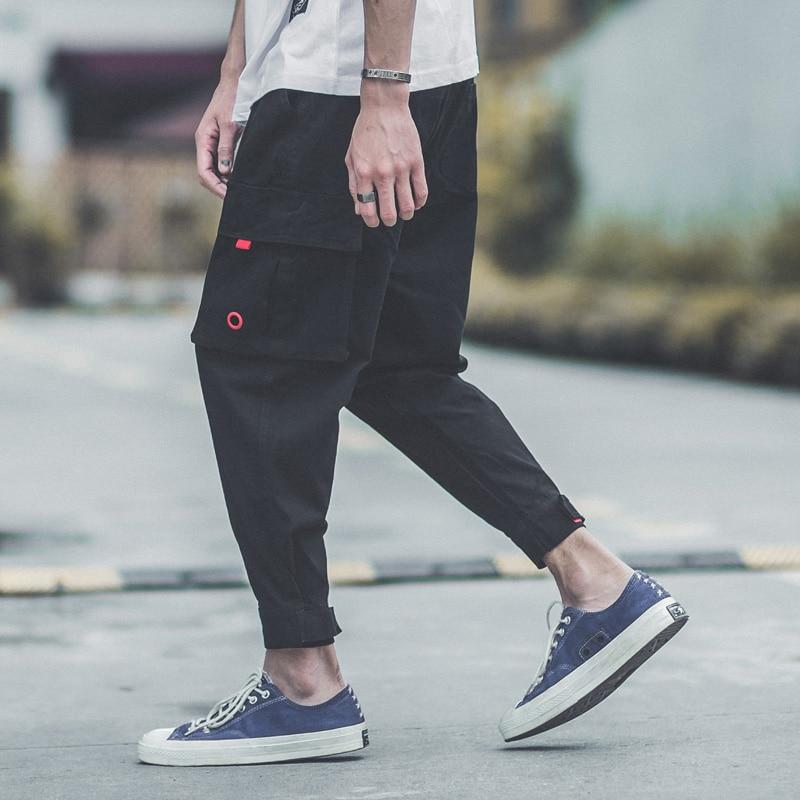 2018 Newly Fashion Streetwear Mens Jeans Jogger Pants Army Green Black Color Loose Fit Harem Cargo Pants Hip Hop Jeans Men