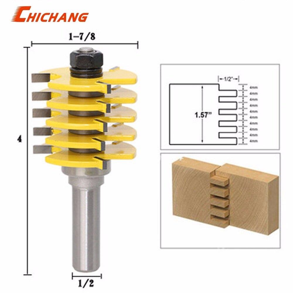 """1 Pc Box Joint Router Bit-einstellbare 5 Klinge-3 Flöte-1/2 """"schaft Für Holz Cutter Zapfen Cutter Für Holzbearbeitung Werkzeuge Verbraucher Zuerst"""