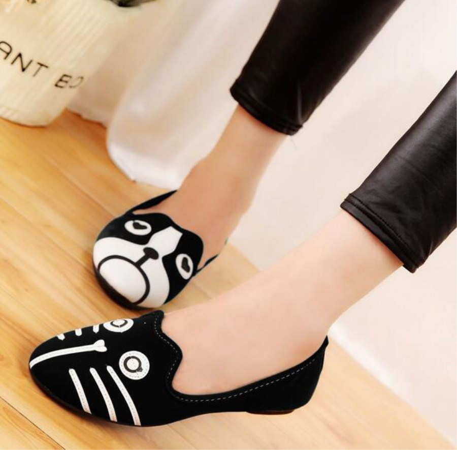 Free Shipping 2016 Women s shoes personality the cat dog shoes velvet flat comfortable flats shoes