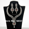 Elegant Clear Crystal Rhodium Plated Ladies Accessories Jewelry Promotion Fashion Red Zircon Indian Bridal Wedding Jewelry Sets