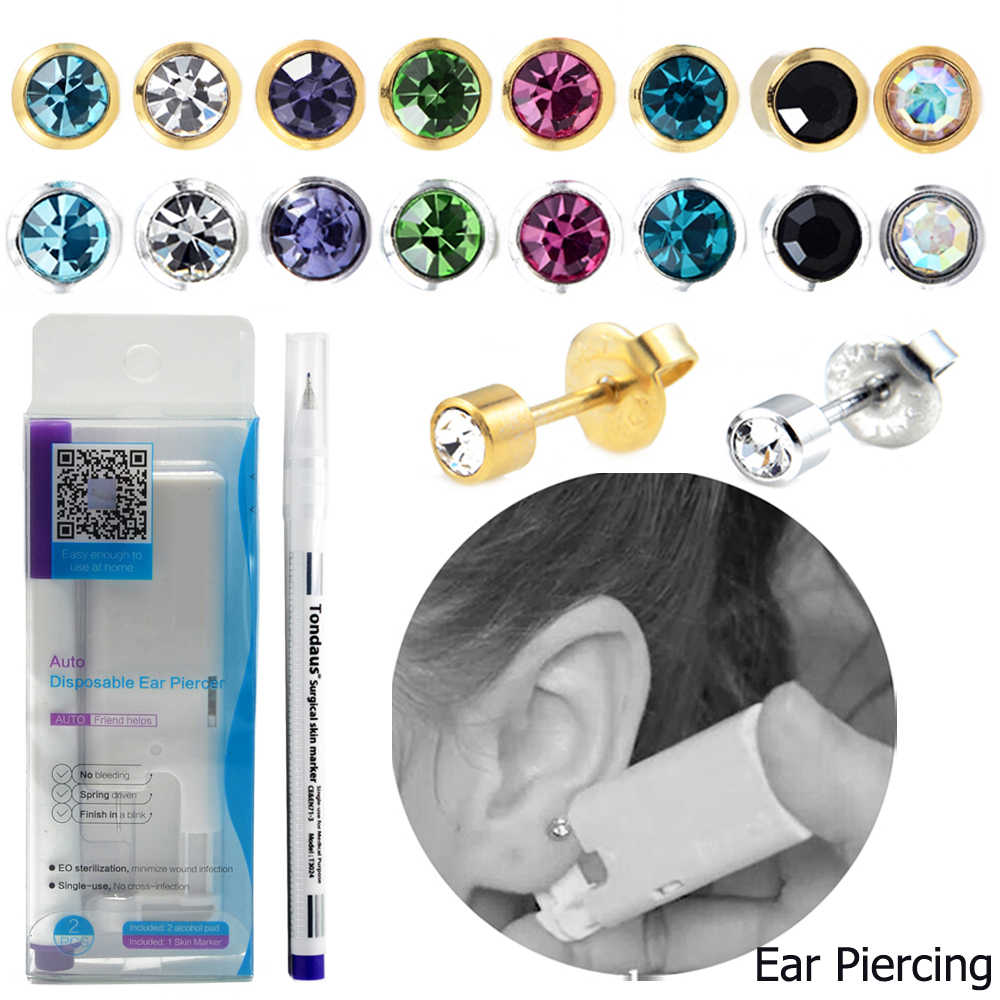 Showlove-1 Pack New Disposable Safe Ear Piercing Sterilized Ear Studs Earring Piercing Gun Tool Kit Build In Earring CZ Gem