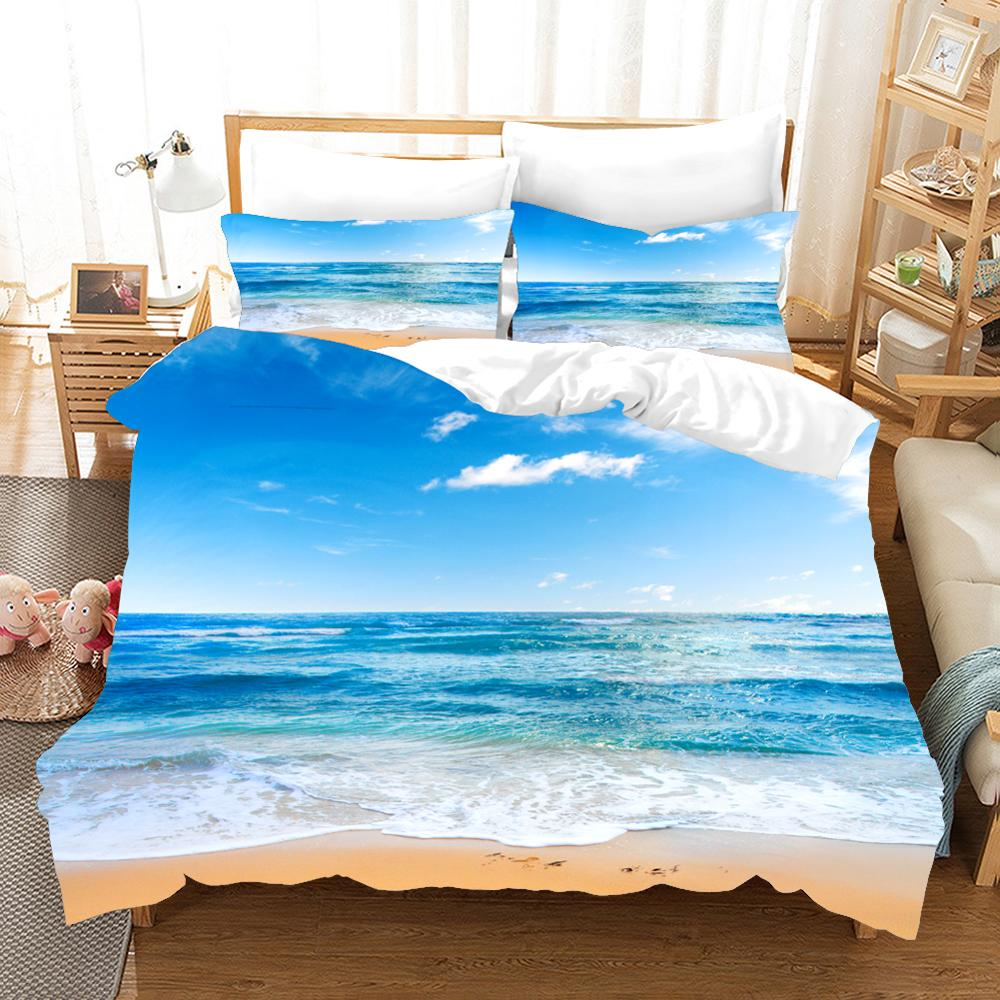 Набор постельного белья с 3d принтом, крутой летний комплект постельного белья с изображением морской звезды, пляжный отдых, волна, закат, друзья, подарок, пододеяльник, набор домашнего текстиля.