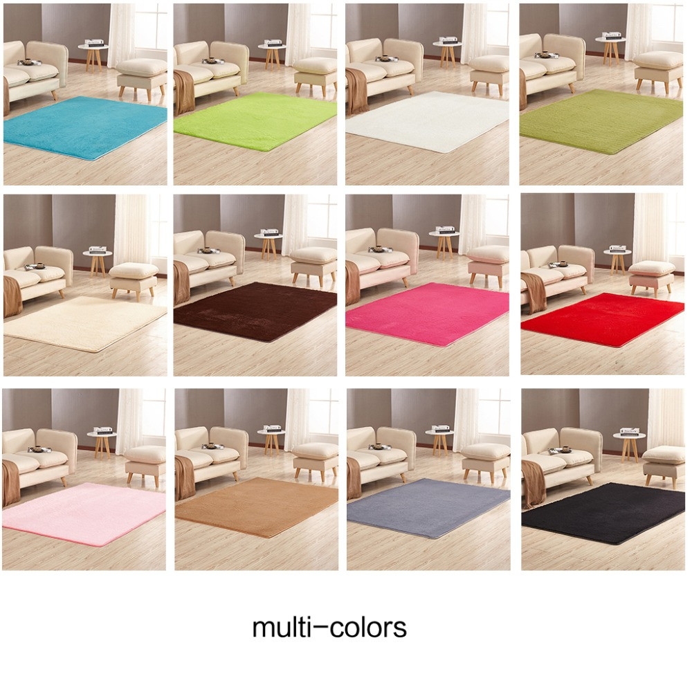 Super Soft Rectangular Carpet Solid Color Short Hair Silk Wool Rug Sofa Bedroom Living Room Area Decor Door Plush Anti-Slip Mat