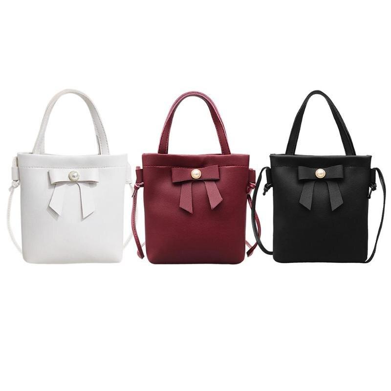 PU Leather Small Women Bucket Bags Bowknot Female Messenger Bags Handbags Ladies Flap Shoulder Crossbody Bag