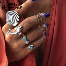 цены на HuaTang Vintage Silver Color Big Scallop Dolphin Shape Ring Set for Women Boho Green Stone Geometric Knuckle Rings Anillos 7069 в интернет-магазинах