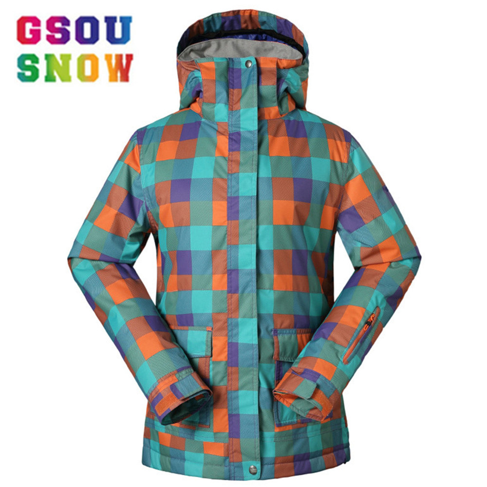 GSOU SNOW Women Ski Jacket  Warm Girls Snow Jacket  Colorful 10K Thermal Skiing And Snowboarding Windproof Jacket FemaleGSOU SNOW Women Ski Jacket  Warm Girls Snow Jacket  Colorful 10K Thermal Skiing And Snowboarding Windproof Jacket Female