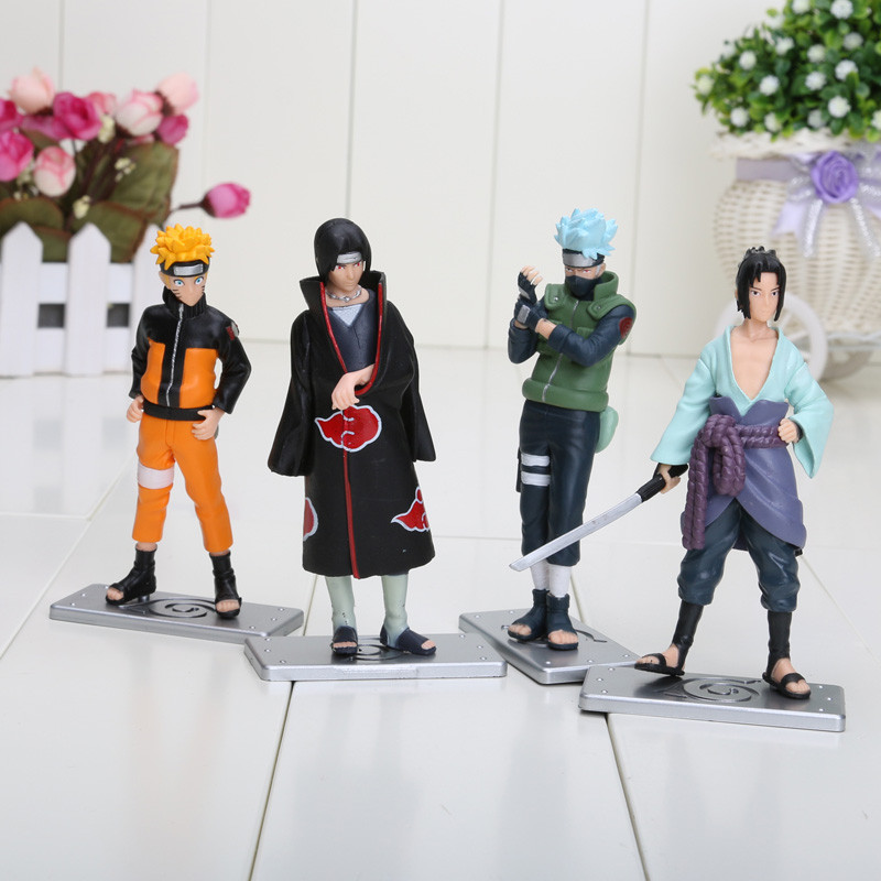4pcs/set Naruto Kakashi Itachi Uchiha Sasuke Action Figure Toy Japan Anime Collection Model Toy Christmas Gift for Children N083 16cm 1 10 pvc japanese anime naruto action figure obito uchiha sasuke kakashi madara gaara orochimaru akatsuki nagato gs185