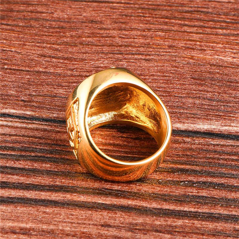 HIP Hop Bling Iced Out ผู้ชาย Masonic แหวนสแตนเลส Micro Pave Rhinestone แหวนผู้ชายเครื่องประดับ Gold สี Dropshipping