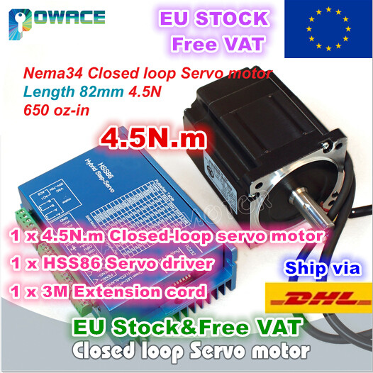 EU Stock Free VAT Nema34 4 5N m Closed Loop Servo Motor 82mm 6A 2HSS86H