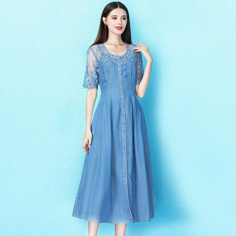 2019 été dame robes dentelle couture denim robe avec caraco mi-mollet longueur mince tencel robe d'été NW19B6181