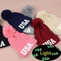 2016 New Winter Print Letters USA Girls Hats For Women Bonnet With Pom Pom Luminous Wool Cotton Knitted Baggy Caps Beanie