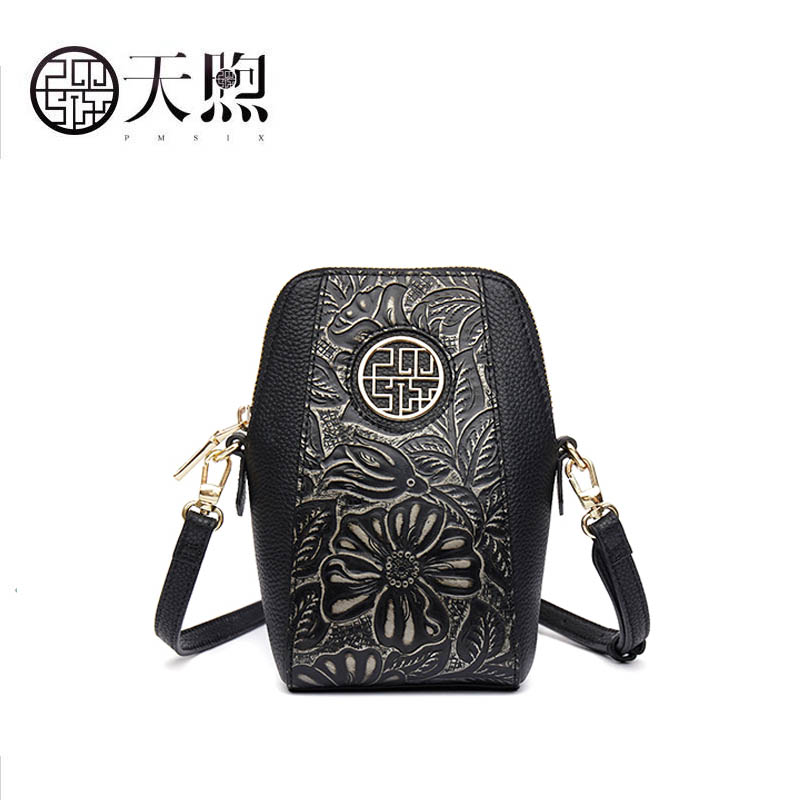 Pmsix 2019 New women Genuine Leather bags famous brand women Leather bags Retro simplicity fashion Shoulder bag embossing bagPmsix 2019 New women Genuine Leather bags famous brand women Leather bags Retro simplicity fashion Shoulder bag embossing bag