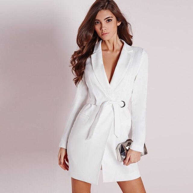 31dd759d232cd أزياء مثير التجارية تعمل النساء فستان بتصميم بدلة برقبة على شكل حرف V أبيض  اللون مثير