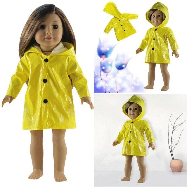 Одежда для кукол подходит 18 дюймов американская кукла и детские купальники для кукол пижамы Желтый дождевик