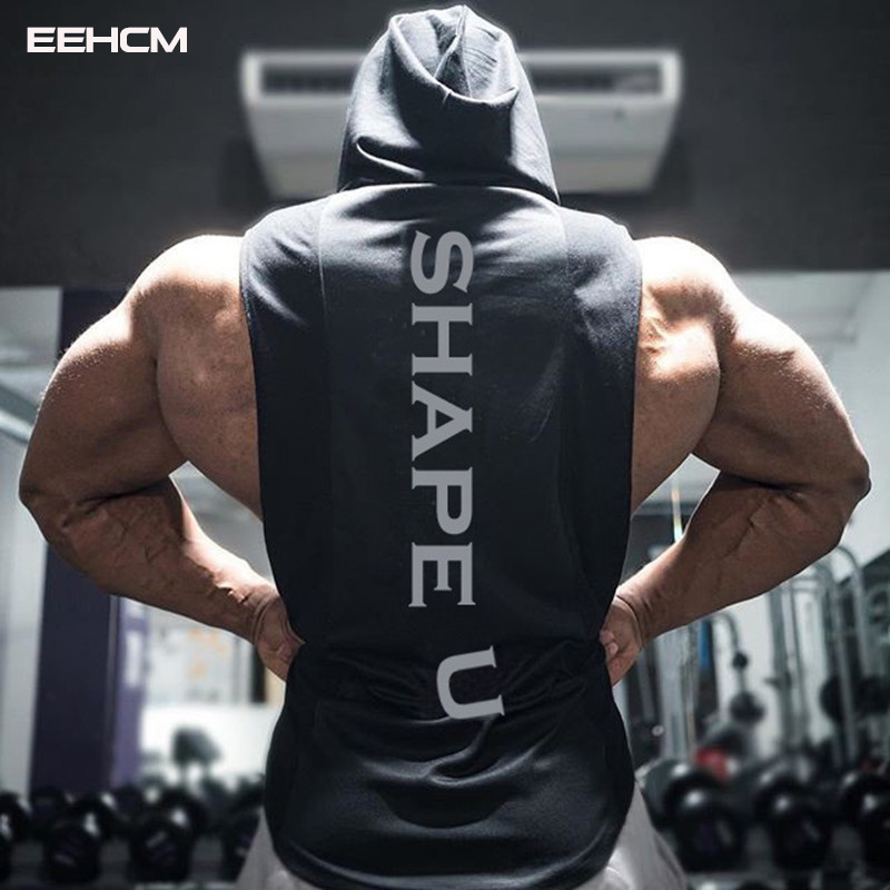 Tank   men summer new hooded   tank   shirt solid color stitching print fashion brand sportswear Hooded bodybuilding   tank     top   gyms men