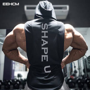 7274d043b1efd Tank men summer new hooded tank shirt solid color stitching print fashion  brand sportswear Hooded bodybuilding tank top gyms men