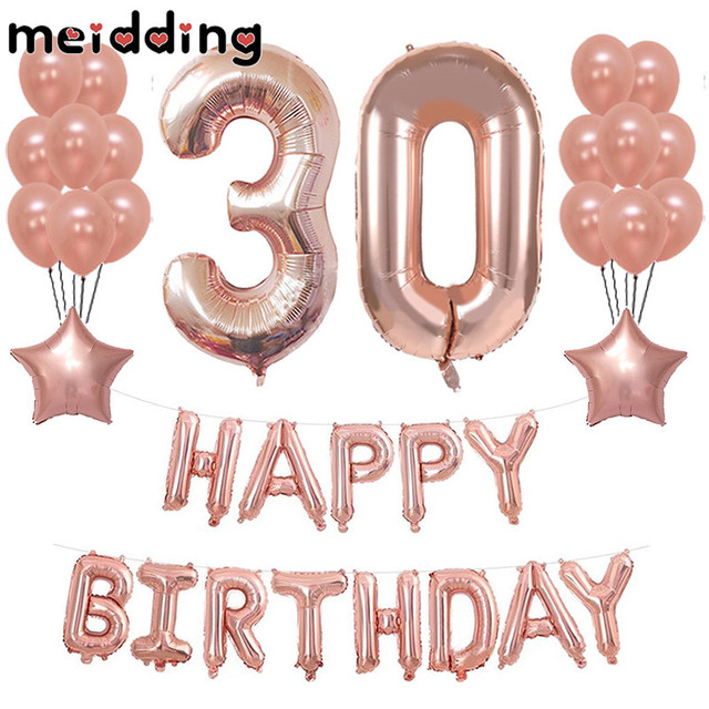 MEIDDING Happy Birthday Party Rose Gold Foil Balloon Air Balloons Wedding Decor 30 40 50th Anniversary Supplies
