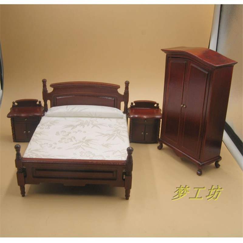 1/12 Wooden Dollhouse Miniature bed Furniture toy for dolls simulation red wardrobe education toys children girls gift home deco