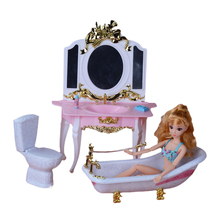Classic Bath Toys Furniture Play Set Dresser + Bathtub + Closestool for Barbie Doll 1/6 House Best Gift Toys for Girl