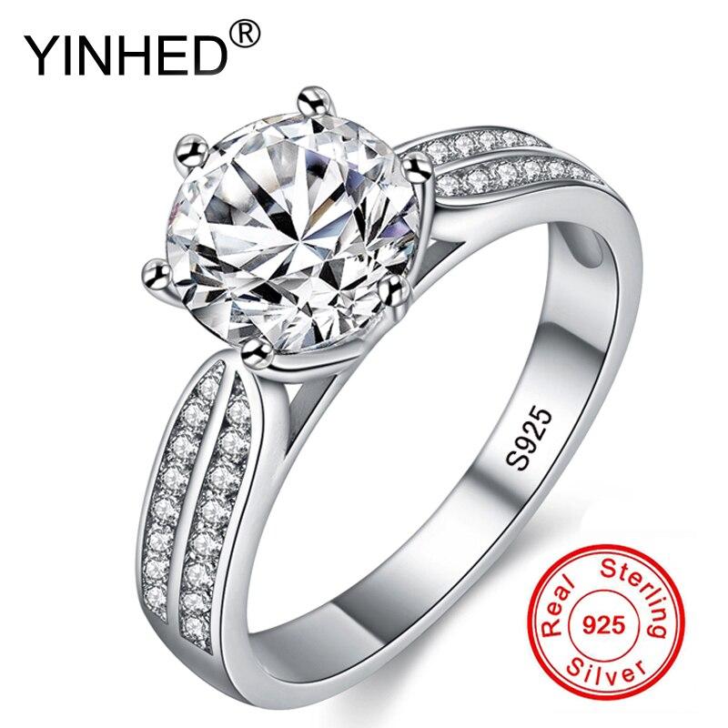 Bagues de mariage en argent Sterling 925 solide de luxe yinfairy ensemble de bagues de fiançailles en Diamant Sona 2 carats bijoux de mode pour femmes ZPR006