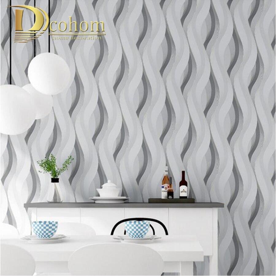 Fashion PVC Black White Silver Striped Wallpaper 3D Modern Living ...