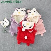 Осень-зима новорожденных девочек мультфильм с капюшоном из искусственного меха жилет принцессы Детская верхняя одежда, пальто спортивный ...