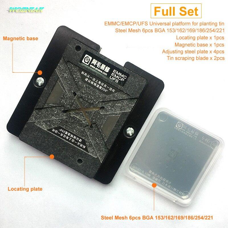 Wozniak Für EMMC EMCP UFS BGA 153 162 169 186 221 254 Universal Wartung Plattform für Zinn Pflanzen Zinn Netto anzug Chip Reparatur