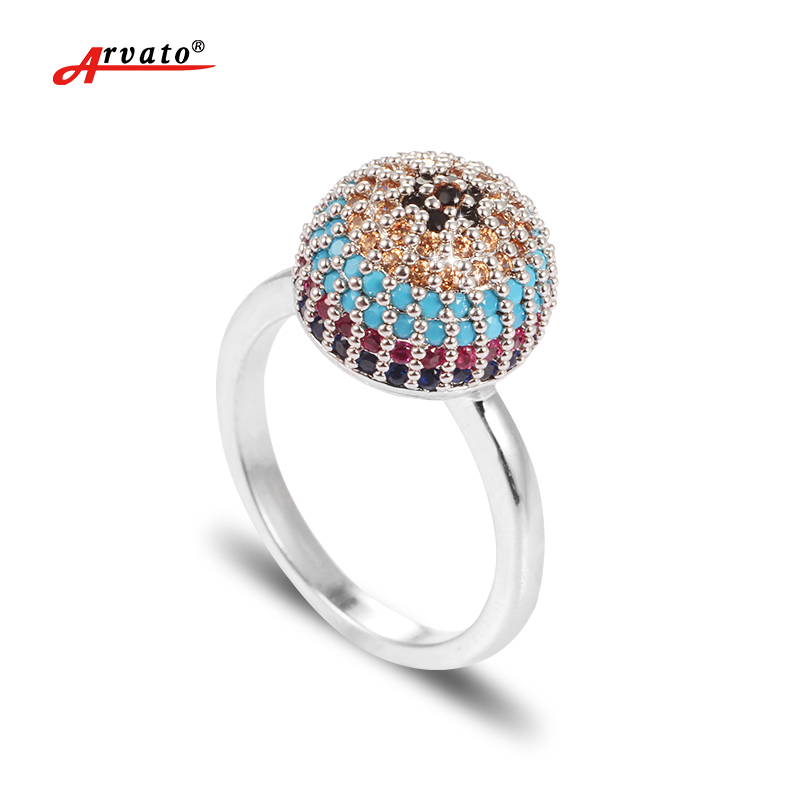 Arvato 2018 New Zircon Rings for Women Pink Gold Evil eye Wedding Jewelry Engagement Rin ...