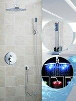 Ouboni Shower Set Torneira LED Light 10 Inch Shower Head Bathroom Rainfall 50247 22B Bath Tub