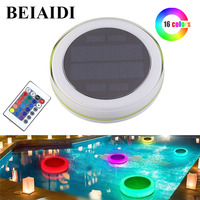 BEIAIDI 16 Colors Solar Swimming Pool Light RGB IP68 Waterproof Pond Fountain Floating Lamp Outdoor Pool Party Decorative Light