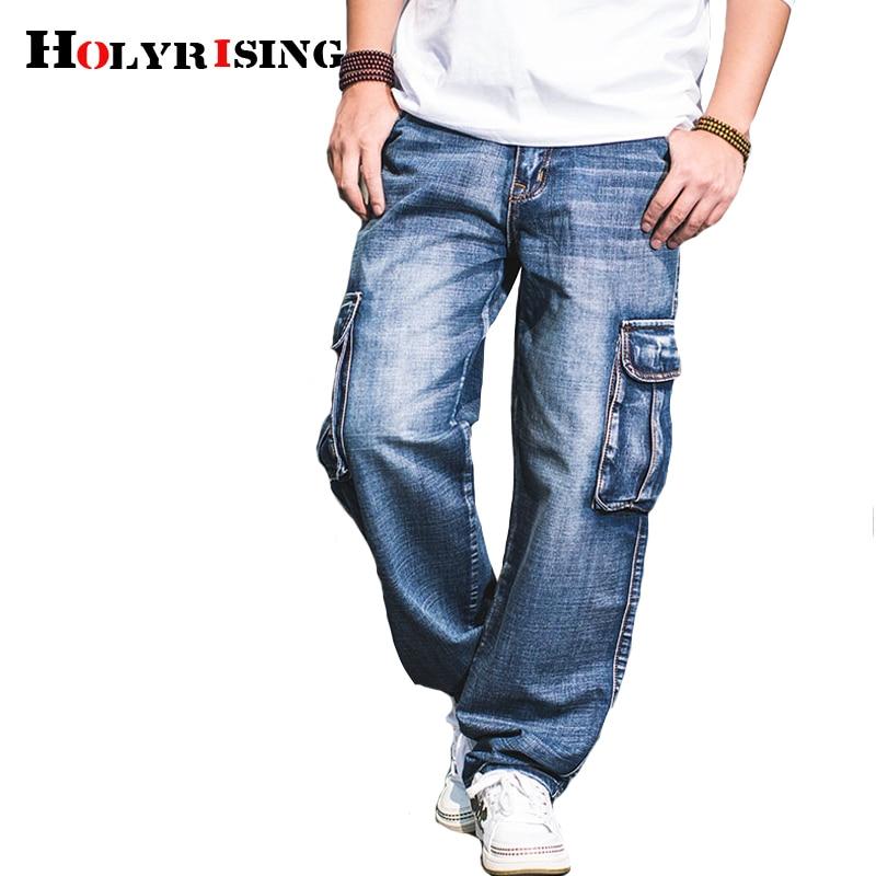 Holyrising Men Jeans Pants Casual Cotton Denim Trousers Multi Pocket Cargo Jeans Men New Fashion Denim Pants Big Size 18665-5