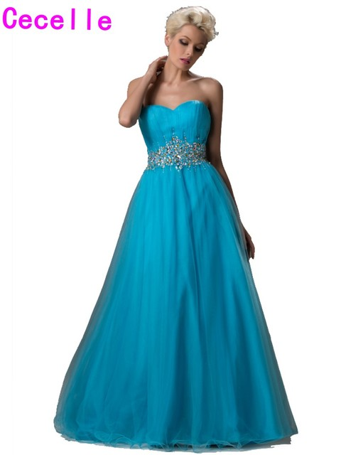 2019 Real Long Floor Length Blue Prom Gowns For Seniors Beaded Tulle A-line Puffy Corset Sweetheart Teens Formal Prom Gowns