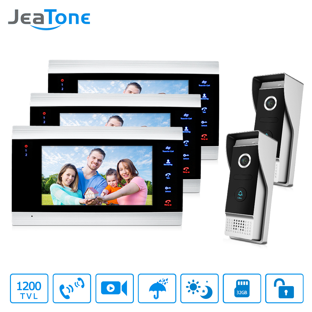 JeaTone Video Door Phone 1200 TVL IR Night Vision Camera 2V3 7 LCD TFT Monitor Video Intercom System for Villa Home Take Photo 7inch video door phone intercom system for 5apartment tft lcd screen 5 flat indoor monitor with night vision cmos outdoor camera