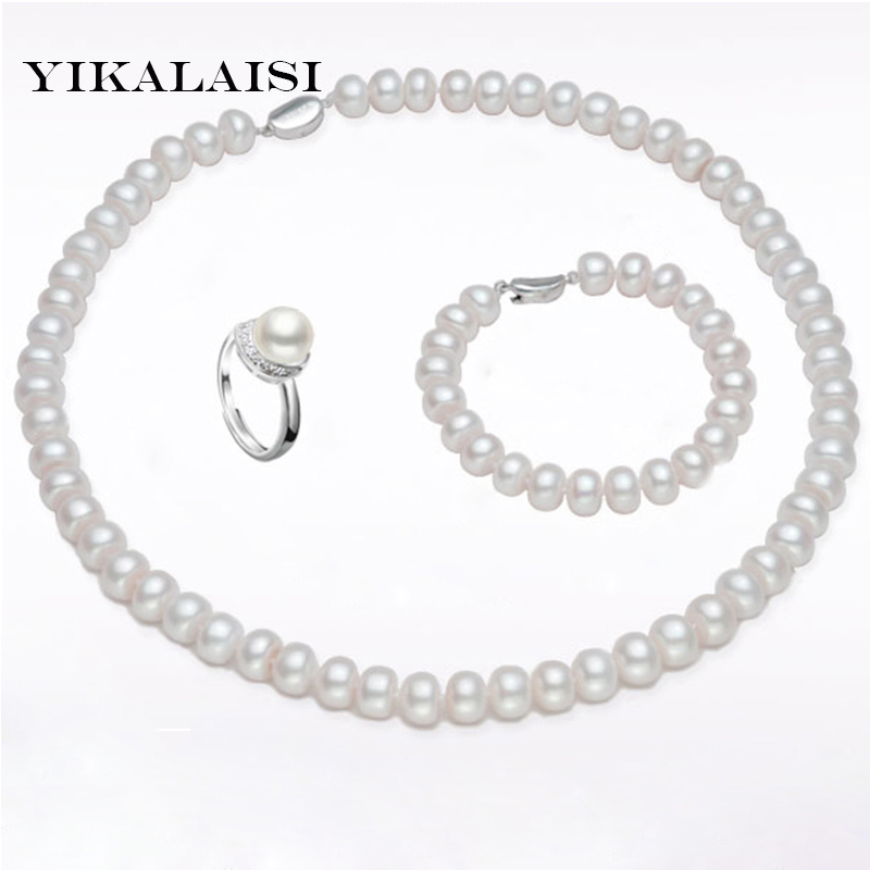 YIKALAISI 2017 100% natural Freshwater Pearl jewelry sets 925 sterling silver jewelry 8-9 mm Pearl necklace for women yikalaisi 2017 fine natural freshwater pearl necklace 925 sterling silver jewelry 8 9mm real pearl necklace gifts for women