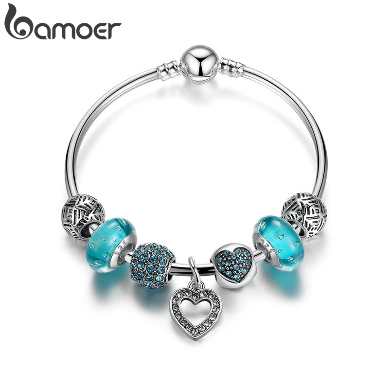 BAMOER Romantic Vintage Bracelets Silver Plated Heart Pendant Bracelets with Blue European Beads Bracelets Jewelry PA3801 Детская кроватка