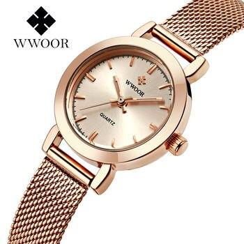 23-Rose gold Top luxury New WWOOR Women Waterproof Watch Fashion Lady Dress Casual Nets Band Quartz Watch Relogio Feminino дамски часовници розово злато